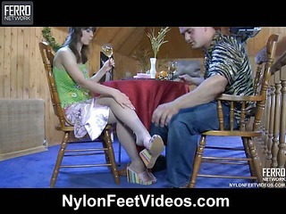Ella&Nicholas lustful nylon feet action