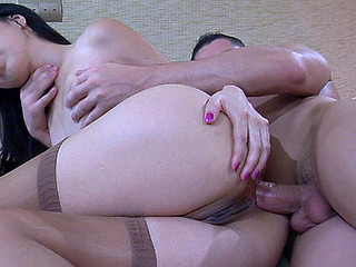 Oriental hottie parts her stockinged legs for a rimjob and hard butt ramming