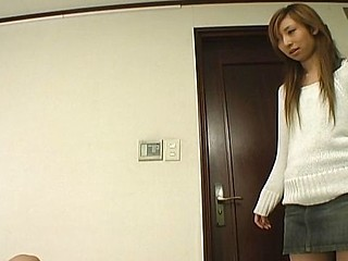 This asian chick in lacey white panties enjoys face fitting