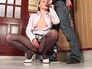 Pony-tailed sweetheart in black hose aching to feel boner in her taut bawdy cleft