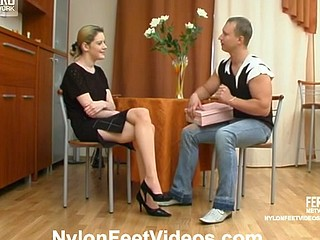 Kinky guy tongue-polishing spike heel shoes of cutie in barely visible hose