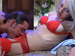 Platinum golden-haired in provoking scarlet underware and nylons getting it on