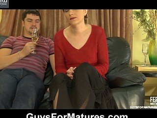 Hawt guy makes a raunchy mother i'd like to fuck gulp a little in advance of stuffing her mellow snatch