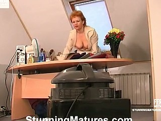 Older lady-boss summoning her worker and getting down right in the office