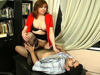 Freaky mother i'd like to fuck helps younger guy widen her legs and impale her cum-hole on ramrod