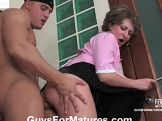 Aged French maid compulsory to swallow manmeat and open up for a younger stud
