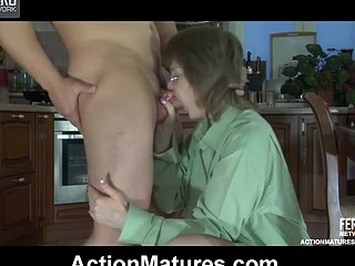 Randy aged exchanges oral favors with a stud and gets banged from behind