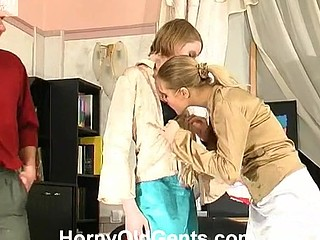 Gorgeous juvenile sweethearts learning the ropes of fucking with his older teacher