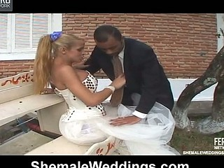 Amazing doggystyle anal fuck with well-hung shemale bride and ebon groom