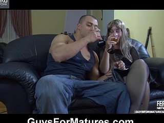 Romantic evening ends up with mighty dicking for a sex-starved aged chick