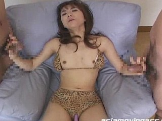 Erika Ando acquires cum all over her face and body  collects cum in a glass and drinks it after.