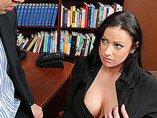 Moxxie just started a recent job and her boss is already on her case. The merely thing is this guy is not on her case about her work, but about how un-slutty that babe is around the office. After her first warning that babe shapes up really fast and learns that being a whore gets a hotty really far.