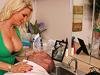 Scott goes to watch Diamond at her recent hair salon that this babe set up at her abode. Whilst cutting his hair Diamond can't stop hitting on him and putting her gigantic billibongs in his face so Scott resolves to Strip the Hair Dresser.