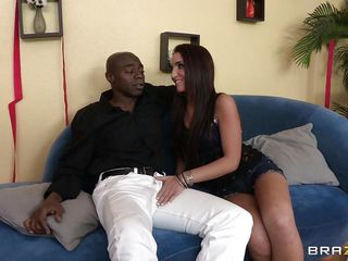 This cute brunette with a nice body is staying on the sofa with a black male and she is touching his penis. She is horny so the slut is doing a nice handjob to the guy and after that she start to lick this huge black cock. Now the young slut is taking off her clothes discovering small and nice tits