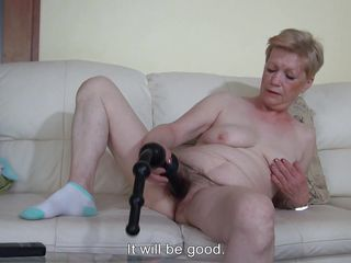 Marie is my old nanny and she like to masturbate as an young slut. She has this big black sex toy that she prefers and when Marie has some free time she undresses and starts masturbating on the couch. Yeah, look at that sex toy filling her old hairy vagina, so sweet and hot! Watch and enjoy!