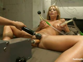 This machine doesn't care how great it would feel to fuck a hottie like Tasha Reign. It was designed to make any woman cum, and it does! Tasha takes a bit from behind, then it's on her back, getting her pussy pounded and her nipples sucked by vacuum pumps. With a buzzing on her clit, she cums hard!