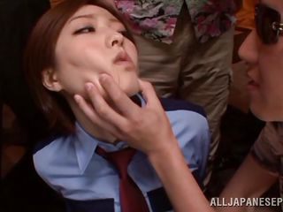 Officer Ai messed with the wrong guys and now the mafia is giving her a lesson. They grab her by that pretty face, open her mouth and fuck her in it. Look how she gets ravaged by all those hard dicks. The humiliation she feels and the hardness of dicks makes her enjoy the situation. Will they cum on miss officer?
