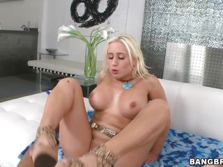 Now this is one horny blonde, and she's really hungry for some cock and spunk. Look at her licking the big shaved penis and then taking it deep in her pussy, her big round boobs are bouncing and her sexy mouth with pink lips moans for more until the man cums inside her shaved tight cunt. Hot white jizz is now dripping out of her vagina, slowly flowing on her anus.
