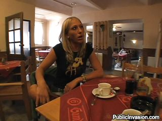 Pretty blonde slut Nikol is drinking a coffee with a horny man, then having dinner. The man propose her to record her while she`ll be sucking his cock. The bitch accepts and they go together in the restroom to get the job done. She sits on her knees and takes hid dick in her dirty mouth so hard! Check it out.