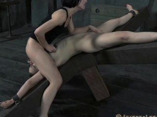 Beauty gets hardcore clamping for her huge racks