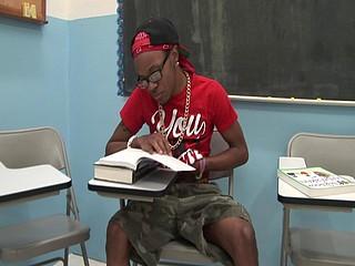 Skinny black thug Arman Woodson jerks off in school