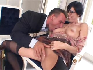 Glasses and stockings on anal fiend