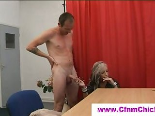 Cfnm babe gets eaten out