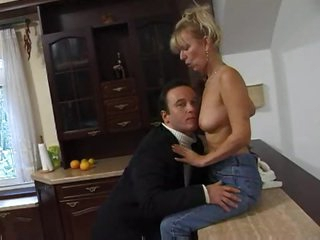 Cute blonde housewife banged in video