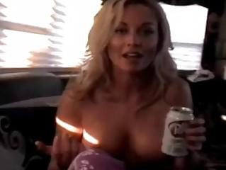 Hot blonde milf pornstar reveals her huge balloons
