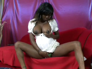 Hot Pregnant Ebony Milks Her Cum-Covered Tits