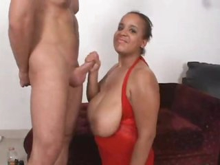 Fat black chick is obsessed with cum