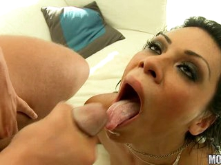Exotic bitch Cassandra Cruz enjoys the hot load dripping in her sweet mouth