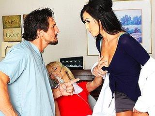 Hot Dr. Benson, a nympho dentist, fucks assistant & his fiancee