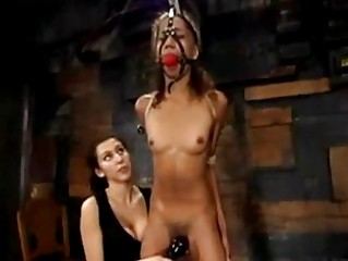 Slim Latina Girl Bondaged Getting Her Hairy Pussy And Ass Fucked With Electric Dildo By Mistress In The Dungeon