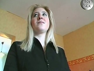 Shy blonde german gets taught to masturbate