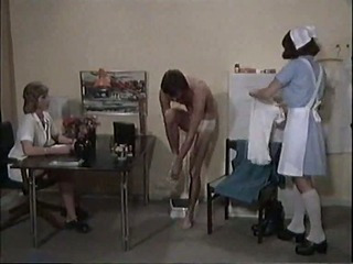 Classic film with two nurses and a guy