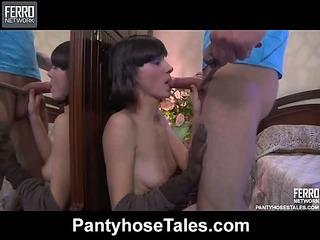 Whitney&Herbert furious pantyhose action