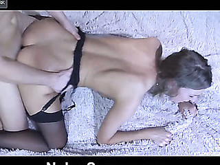 Topless playgirl in spruce black nylons gets dicked hard after muff-diving