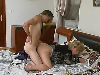 Oral games with younger guy turning into sheer fuck for breasty older chick