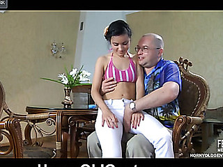 Frisky juvenile spinner gives head and goes bouncy-bouncy on a sexually excited daddy