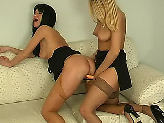 Stockinged secretary toying pink previous to older lady-boss gets in on the fun