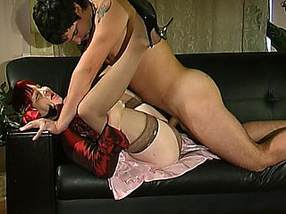 Lusty mother i'd like to fuck in silky nylons giving footjob expecting for hard cunt-ramming