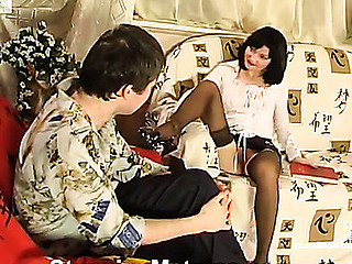 Wicked older chick teasing horny guy previous to going down to manual work