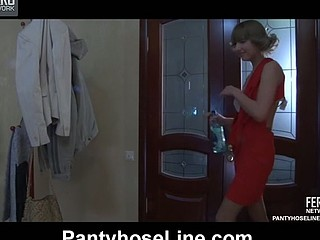 Drunken party chick in a red dress getting talked into hose screwing