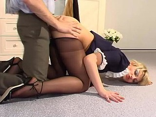 Nasty French maid in control top hose getting drilled on all her fours