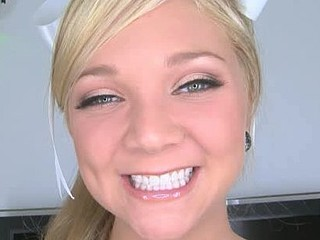 Cute and sinless blond legal age teenager gets face fucked and throated by beefing pecker, then gets her constricted cunt pounded until this babe jerks out a spunk fountain by hand.