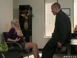 Another hard day of work for that hot blonde with her big tits and her juicy lips. Watch her undress and touching her boobs and how she grabs her bosses hard cock. Is she going to get some spunk on her juicy lips or some cock in her tight pussy?