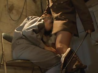 She learned not to fuck with the military when they've brought her in that prison cell and allowed their most perverted employee do his job. The Nippon whore was spanked by him and then he took out his dick to give her a taste of military discipline. Surely she will endure a lot more in that prison cell.