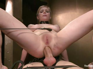 She's whipped on the ass and putted to work. An executor instructs her what to do and continues to whip her while she sucks and slurps the tied sex slave's hard cock. Look at her booty being whipped, what a nice sight. The slut girl then sits on top of the sex slave and receives his cock in her tight anus