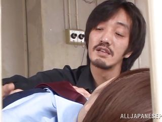 Officer Ai Haneda likes living dangerous and to fuck even more dangerously. She is a beauty and wearing the uniform makes her hotter! Look how horny she is and when the man puts his gun in her mouth she is not scared at all. Actually it makes her hornier and licks it like it's a hard dick. This beauty is crazy!
